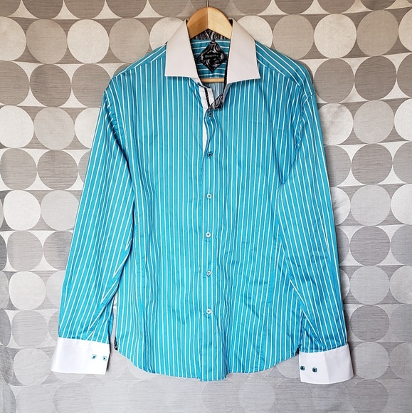 select for genuine street price multiple colors Bespoke men's aqua blue button up dress shirt